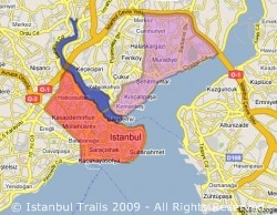Map of Istanbul with the Golden Horn, the Modern Part of Istanbul, and the Historical Part of Istanbul.