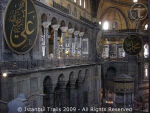 Inside view of the Haghia Sophia in Istanbul, Turkey