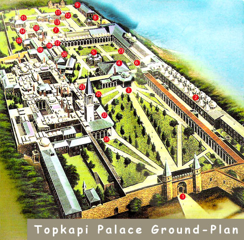 Ground plan of Topkapi Palace, Istanbul, Turkey