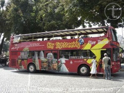 Sightseeing bus for guided city tours around Istanbul, Turkey.