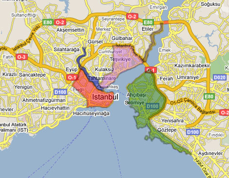 Overview map of Istanbul's main tourist areas.