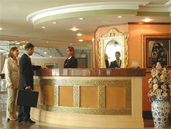 Hotel reception of the Eresin Crown in Istanbul.
