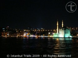 Ortaköy by night, taken from the Bosphorus in Istanbul, Turkey.