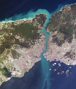 Aerial view of the Bosphorus in Istanbul, Turkey.