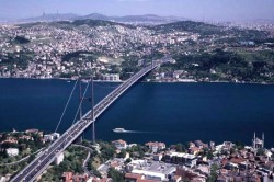 The first Bosphorus bridge in Istanbul.