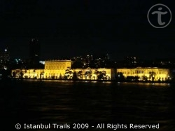 The Dolmabahçe Palace at night.