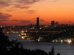 Picture of the Bosphorus in Istanbul at night.