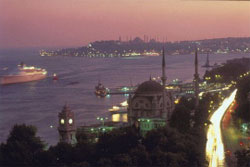 Romance at dusk during a cruise on the Bosphorus