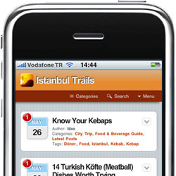 Picture with screenshot of the mobile version of Istanbul Trails.