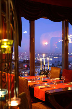 Picture of a candle-lit dinner overlooking the Bosphorus at 5.kat in Istanbul.