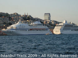 Image of cruise ships docked at the Karaköy Cruise Ship Terminal in Istanbul.