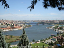 Impression of the Golden Horn as seen from the Pierre Loti Cafe in Istanbul, Turkey