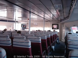 Interior of a high-speed sea bus.