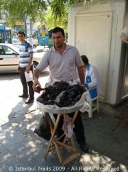 Street vendor selling midye dolma